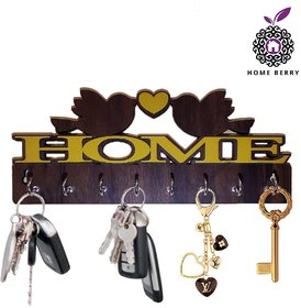 Home Berry Wood Brown 8 Hooks Key Holder (25 cm X 11 cm)