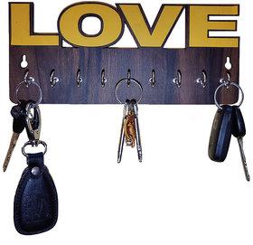 Pockester Love Wood Key Holder(8 Hooks, Brown)