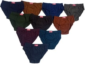 Men's Inner Wear Cotton Brief Gents Under wear for Boys(Multicolor,Pack of 10)