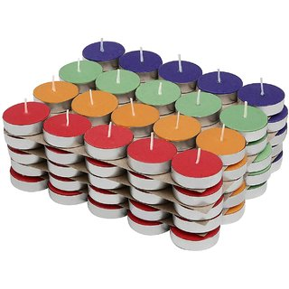 Colored Wax Tealight Basil Acrylic Candles (Set of 50, Unscented) For Diwali