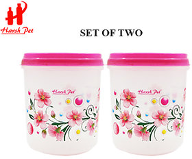 HARSH PET Kitchen Storage 3Litres(3000mL) Pink Floral Printed Royal PP Container Set of 2