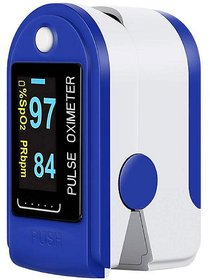 Body Safe Fingertip Pulse Oximeter with Audio Visual Alarm Blue)