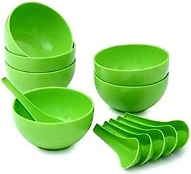 Green Plastic Round Shape Soup Bowls Pack of 6