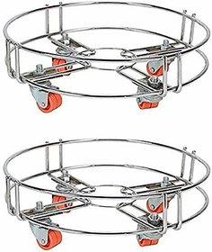 Combo Stainless Steel Gas Cylinder Trolley With Heavy 4 Wheel -Cylinder Stand of 2 Gas Cylinder Trolley(Steel)