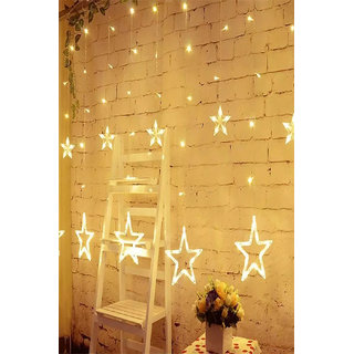 Generic AVN Elite B22 Warm White LED Curtain String Lights With Flashing/Blinking Modes (138 LED - 12 Star)