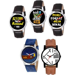 Radius Today Trends Comb's of 5 Pcs Leather Strap Watch For Men Boy P-10