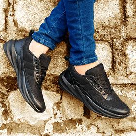 Groofer Breathable Black Sythentic Sport Shoes For Men's