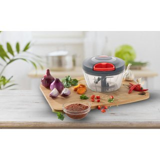 SilverShopIndia New Handy Mini Plastic Vegetable Chopper with 3 Blades Vegetable Cutter Dori