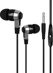 Innotek Wired In the Ear Earphones With Mic Bass Earphone With Deep Bass Compatible with All Black