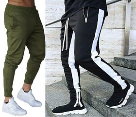 olive anb Black Four white strap with zip at the bottom combo track pant