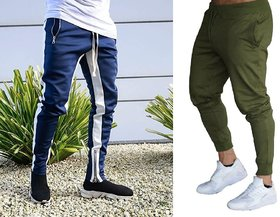 Blue with four white strap and zip at the bottom and olive with voilet and rib slim fit jogger track pant