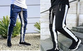Blue and Black four white strap and zip at the bottom slim fit jogger track pant