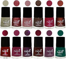 Fabia Matte Nail Polish Pack of 12 Multicolor 6 ml Royal Collection38