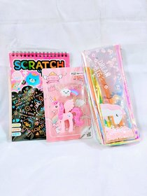 Gifthouse Unicorn Fancy Eraser Unicorn Holographic Pouch Multi Colour Scratch pad Combo Gift