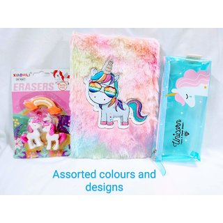 Gifthouse unicorn diary with unicorn fancy eraser, Cute unicorn pouch
