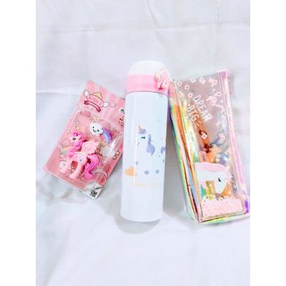 Gifthouse Unicorn Fancy Eraser Unicorn Holographic Pouch Unicorn Water Bottle Combo Gift