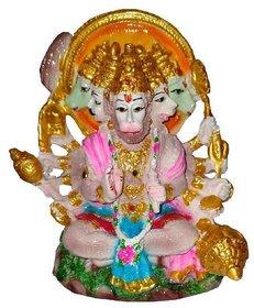 Panchmukhi Lord Hanuman ji Idol Polyresin Finish Statue for Pooja Room and Home / Office Decor (Height 3.5 Inch)