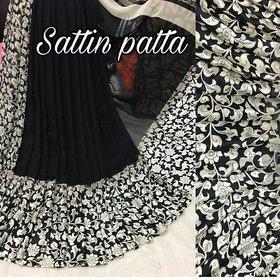 Meia Women's Sattin Patta Silk Saree Pure With Blouse Piece