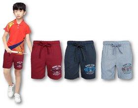 A2 Classic Boys Hosiery Cotton Bermuda Logo Print Loopnet Shorts 5-12 years (Maroon,Black,Grey)