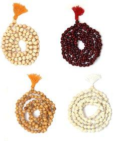Spherulemuster Combo of Tulsi Jap Malas- Lal Chandan/Orange Tulsi/Haldi Tulsi/White Tulsi-Set of 4