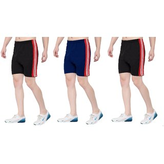 OORA Men & Women Non-Cotton Sports Gym Shorts (Pack of 3, Black, Black, Royal, Free Size- 28 to 34 Inch)