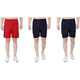 OORA Men's Sports Short for Gym (Pack of 3, Navy Red Navy, Free Size- 28 to 34 Inch)
