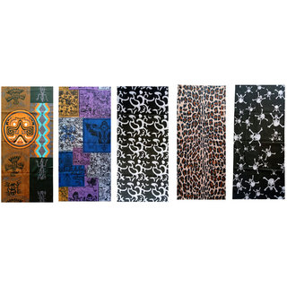 Voici France Unisex Full face and Head Wrap Smuff Bandana Headwrap Multi-Color Pack of 5