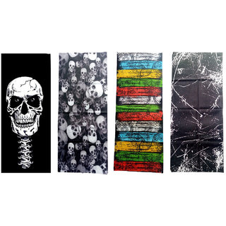 Voici France Unisex Full face and Head Wrap Smuff Bandana Headwrap Multi-Color Pack of 4
