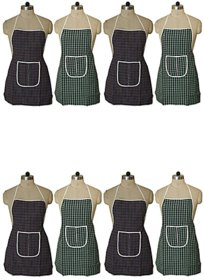 Fabfurn Multicolor Check Design Cotton Kitchen Apron with Front Utility Pocket (Pack of 8) Color As Per Availability