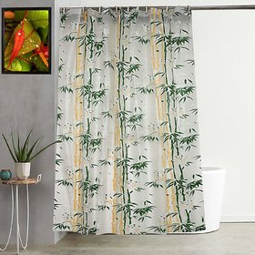 Fabfurn Bamboo Leaf Design Waterproof Shower Curtain for Bathroom,7 x 4.5 Feet PVC Curtain with 8 Hooks,Green