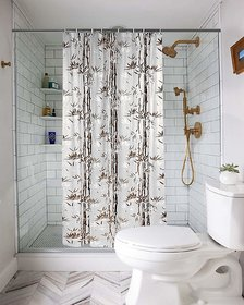 Fabfurn Bamboo Leaf Design Waterproof Shower Curtain for Bathroom,7 x 4.5 Feet PVC Curtain with 8 Hooks (Brown, 7 x 4.5