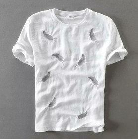 Men's White Cotton Round Neck Printed T-shirt