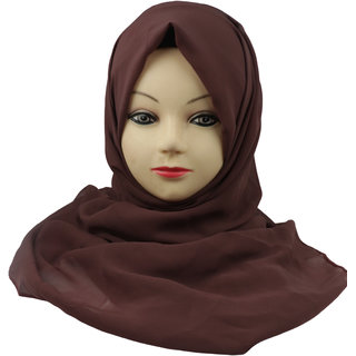 Women Plain Solid Chiffone Hijab Stole Scarf