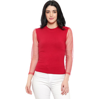 Be You Cotton Women Net Sleeves Top (Red)