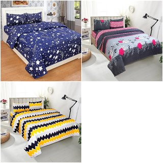 Bsb Home 144 Tc Microfibre 3 Double Bedsheet With 6 Pillow Covers,Size-90X90 Inches,Colour-Multi