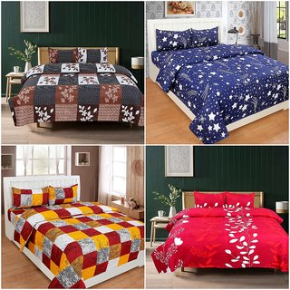 Bsb Home 144 Tc Microfibre 4 Double Bedsheet With 8 Pillow Covers,Size-90X90 Inches,Colour-Multi