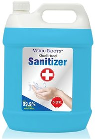 KHADI Vedic Roots Instant Hand Sanitizer With 80 Alcohol (ETHANOL 80) For Commercial  Domestic Use - 5 Liter CAN/BOTT