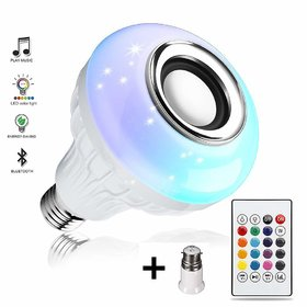 KSS Bluetooth Speaker Music Light White RGB Light Ball Bulb Colorful Lamp, Remote Control for Home, Bedroom, etc.