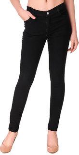 Pavis Trendy Solid Black Jeans