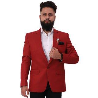Mr. Dulha - Men's Slimfit Blazer with Accessories (Brooch) - Red