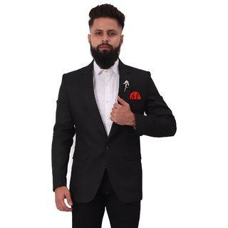 Mr. Dulha - Men's Slimfit Blazer with Accessories (Brooch) - Black