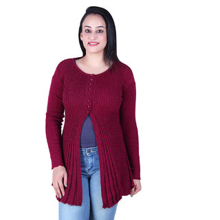 Ogarti woollen full sleeve round neck Magenta colour  Women's  Shrug