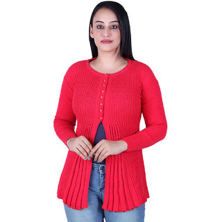 Ogarti woollen full sleeve round neck Rani colour Women's  Shrug