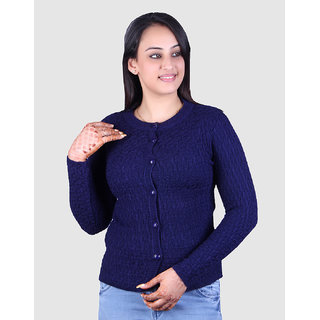 Ogarti woollen full sleeve Round neck Black Women's  Cardigan