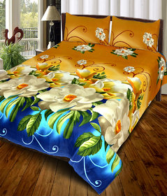 Choco Creation Multicolor 3D Printed Cotton Double Bedsheet With 2 Pillow Covers - 85 Inches  85 Inches