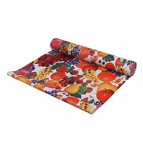 Fabfurn Fruits Print PVC Wardrobe Kitchen Drawer Shelf Mat 10 Meter Roll (Multicolor)