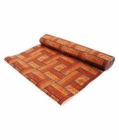 Fabfurn PVC Wooden Print Wardrobe/Kitchen/Drawer Shelf Mat 5 Meter Roll(Brown)