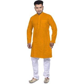 Rivera India Men Kurta and Pyjama Set - Mustard(Yellow), Pure Cotton