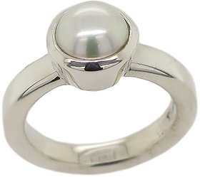 Pearl silver ring natural  original gemstone moti 6.25 ratti for unisex by Kundligems