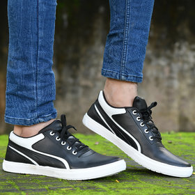 Groofer Black  White Casual Sneakers Shoes For Men's
